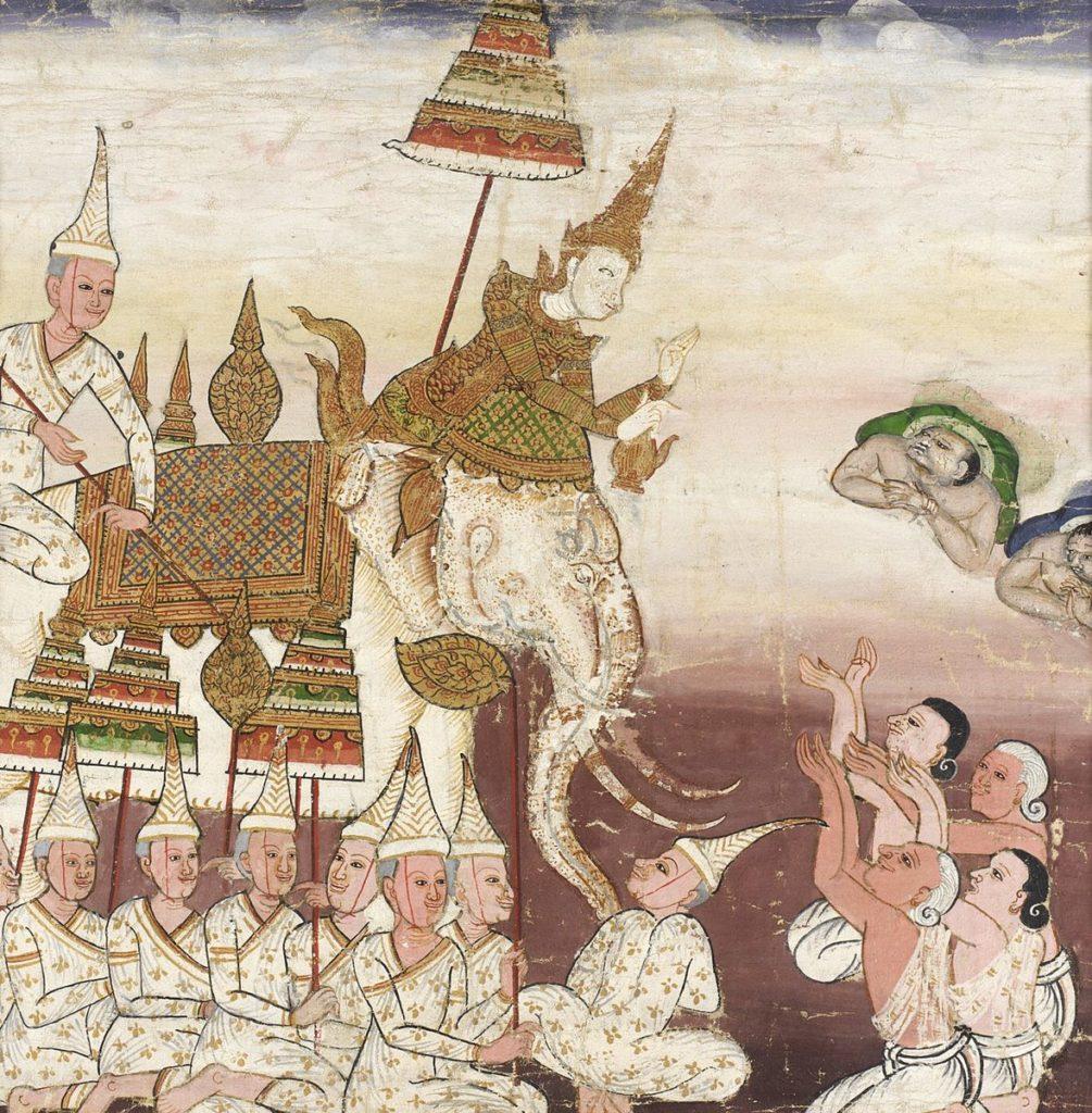 le prince Wetsandon sur son elepghant blanc